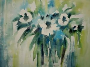Fleurs blanches et bleues