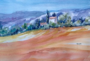 Paysage au champ orange - 40x50 - 230 €